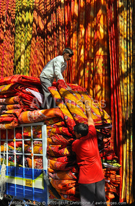 India, Rajasthan state, saree factory, loading the sarees