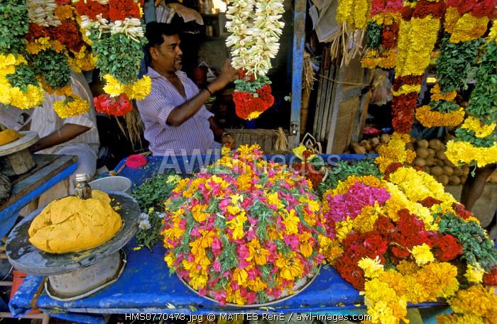 India, Tamil Nadu State, Tanjore, flower market
