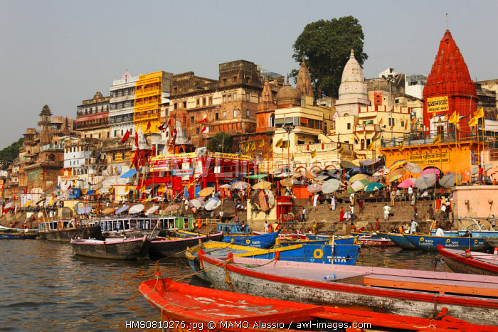 India, Uttar Pradesh State, Varanasi, rowboats over the Ganga (Ganges) River