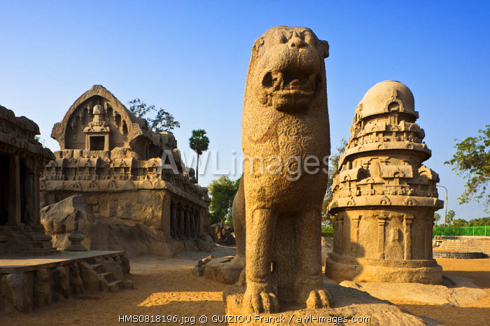India, Tamil Nadu State, Mahabalipuram (or Mamallapuram), the Five Rathas listed as World Heritage by UNESCO, are a set of 5 monolithic temples of the 7th century shaped like ceremonial chariot and each dedicated to one of the Hindu gods