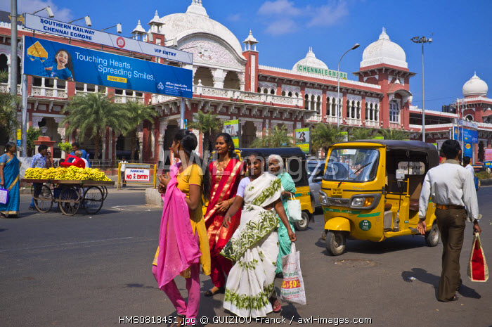 India, Tamil Nadu State, Chennai (Madras), in front of Egmore station, one of the 2 main stations in Chennai