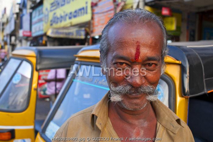 India, Tamil Nadu State, Chennai (Madras), auto rickshaw driver (urban transport)