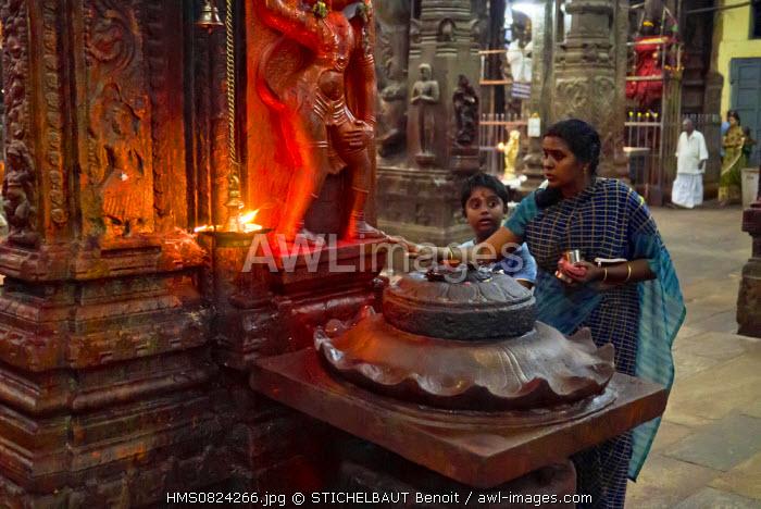 India, Tamil Nadu state, Madurai, Sri Meenakshi temple, Hindus inside the temple