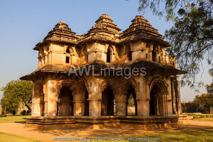 India, Karnataka state, Hampi, Zenana, Lotus Mahal, listed as World Heritage by UNESCO