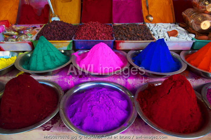 India, Karnataka state, Mysore, Devaraja market, colour powder