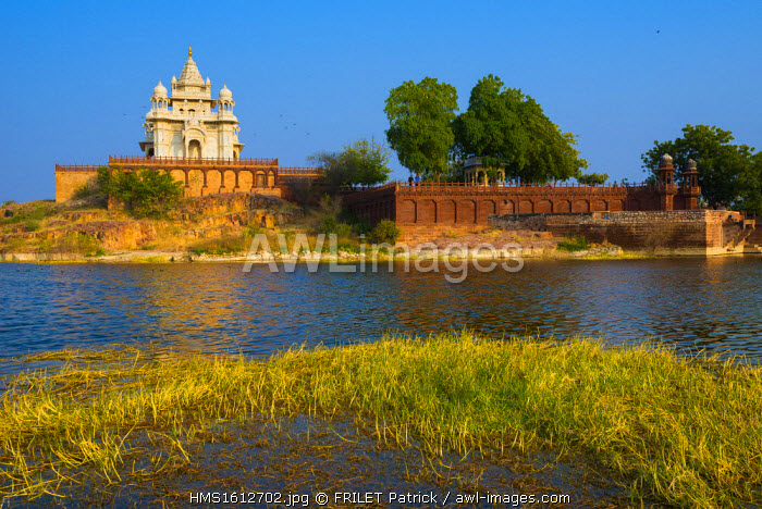 India, Rajasthan state, Jodhpur, white marble temple of Jaswant Thada