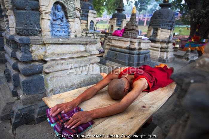 India, Bihar state, Bodhgaya, the historical place at which the Enlightenment of Buddha took place, listed as World Heritage by UNESCO, monk in prostration in front of Mahabodhi Temple