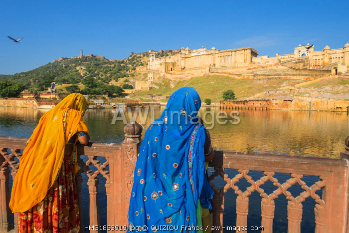 India, Rajasthan State, hill fort of Rajasthan listed as World Heritage by UNESCO, Jaipur, Amber Palace or Amber Fort and lake Maotha