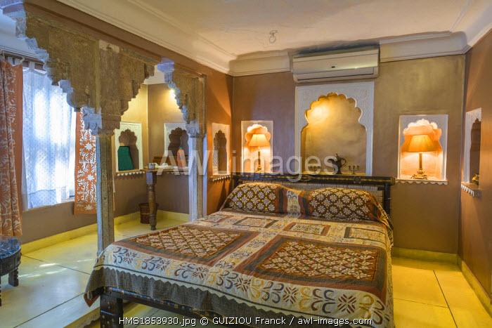 India, Rajasthan State, Bundi, the charming hotel Bundi Vilas, a former 300 years old haveli