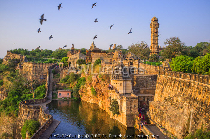 India, Rajasthan State, hill fort of Rajasthan listed as World Heritage by UNESCO, Chittorgarh, the Gaumukh Kund