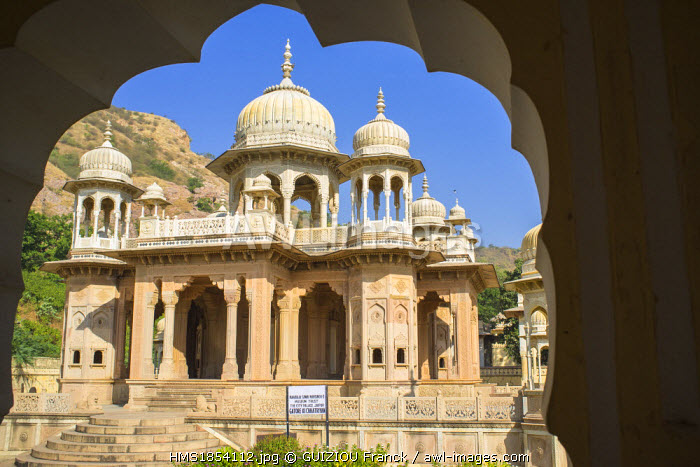 India, Rajasthan State, Jaipur, Gaitor, cenotaphs of the maharajas of Jaipur