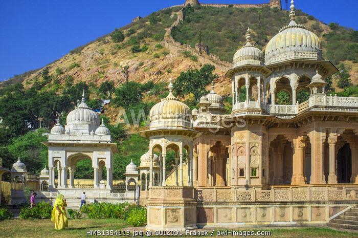 India, Rajasthan State, Jaipur, Gaitor, cenotaphs of the maharajas of Jaipur