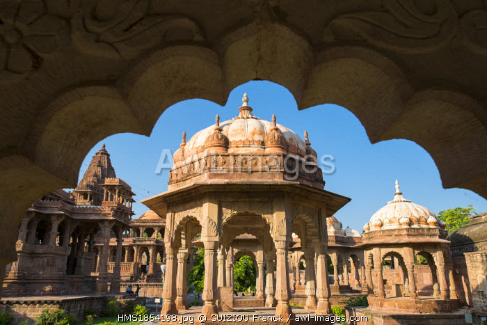 India, Rajasthan State, Mandore close to Jodhpur, former capitale of Marwar, maharadjas cenotaphs in the gardens of Mandore