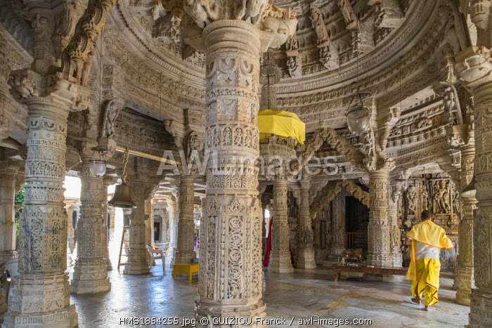 India, Rajasthan State, Ranakpur, Adinath jain temple built in the 15th century in the heart of the Aravalli Range