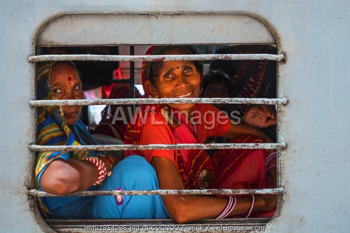 India, Rajasthan State, Ranthambore National Park, Sawai Madhopur, a train station