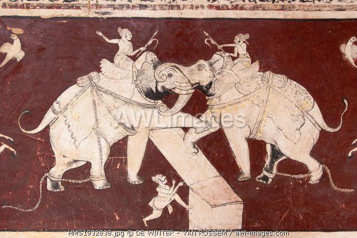 India, Rajasthan, Bundi, City Palace Mural