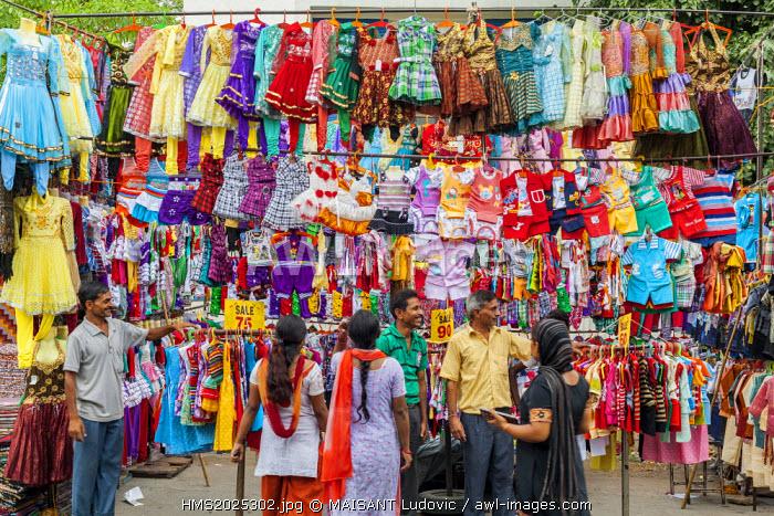 India, New Delhi, Saket district, Saket Market, seller of children's clothing