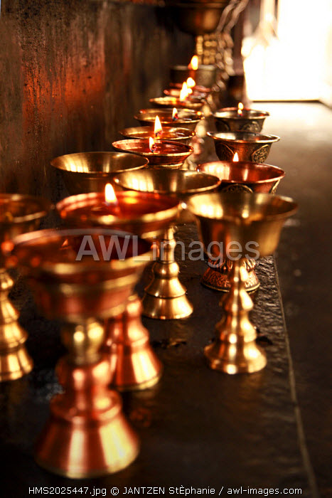India, Jammu and Kashmir State, Ladakh Region, Hemis monastery, room dedicated to the butter lamps