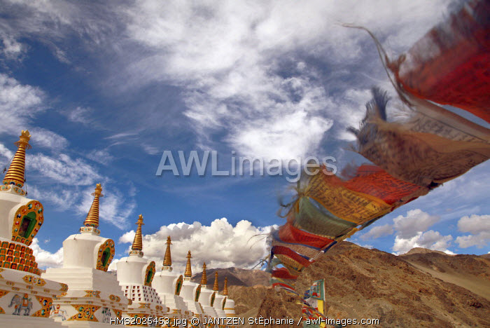 India, Jammu and Kashmir State, Ladakh Region, view from the monastery Tiksey on the stupas and the prayer flags, red, blue, yellow and blue.