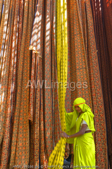 India, Rajasthan State, Sanganer, textile factory, collection of dry textiles