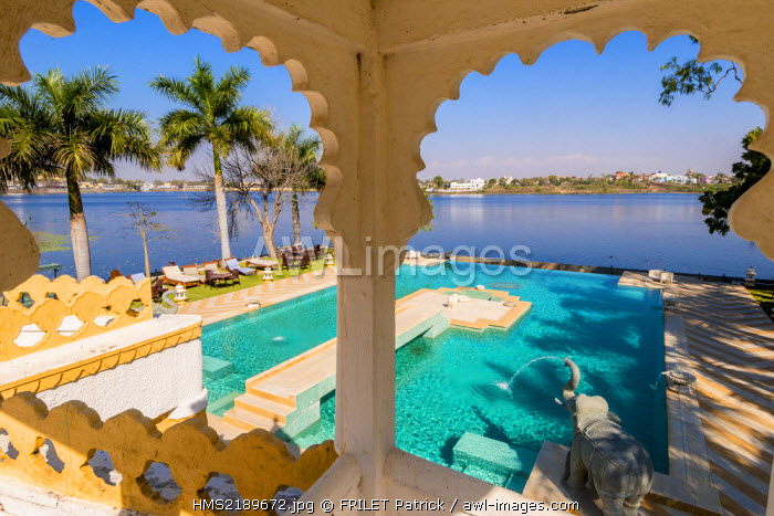 India, Rajasthan state, Dungarpur, the Udai Bilas Palace hotel on the Gaibsagar lake is the Maharaja's residence