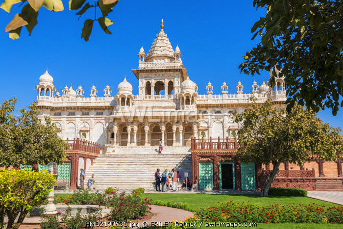 India, Rajasthan state, Jodhpur, white marble temple of Jaswant Thada