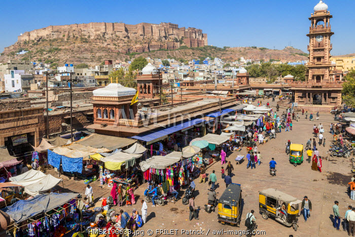 India, Rajasthan state, Jodhpur, the Mehrangarh Fort and the Clock Tower