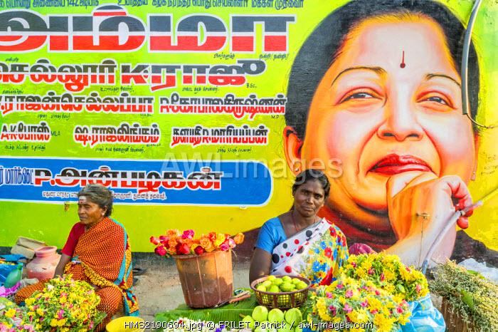 India, Tamil Nadu state, Madurai, portrait of Amma Mata Amritanandamayi, a spiritual figure of India, founder of the humanitarian and ecologist NGO Embracing the World