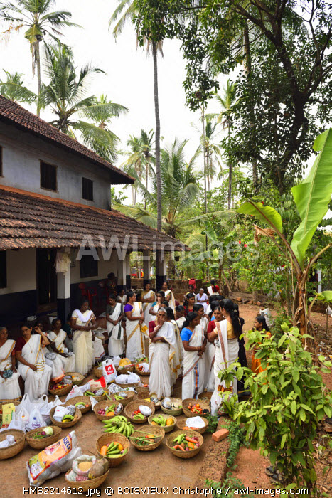 India, Kerala, Kannur, Women gathering offerings of fruits and vegetables to be offered to the local temple during the Theyyam festival