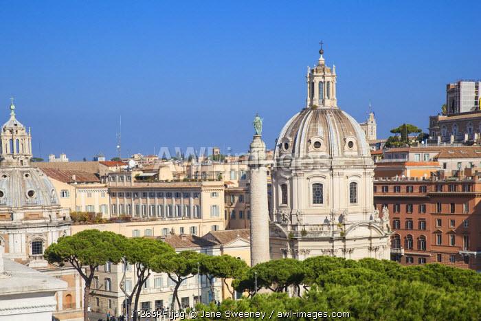 Italy, Lazio, Rome, Church of Santa Maria di Loreto and Trajan's Column