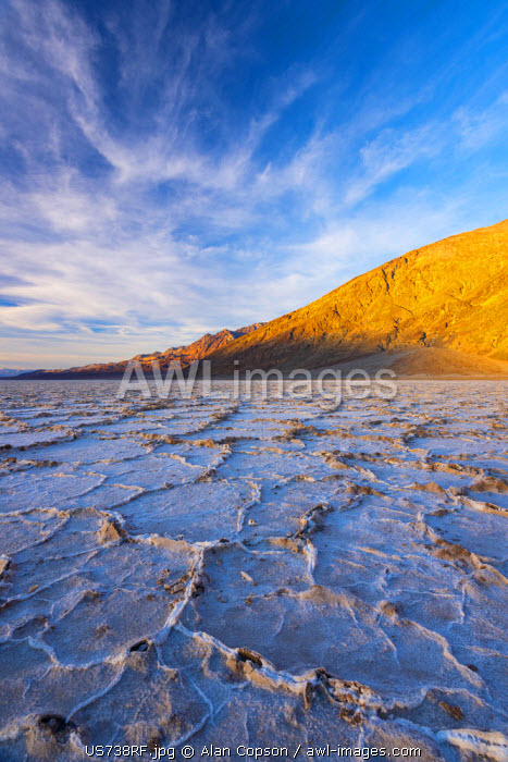 USA, California, Death Valley National Park, Badwater Basin, lowest point in North America, salt crust broken into hexagonal pressure ridges