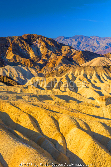 USA, California, Death Valley National Park, Zabriskie Point, Panamint Range of mountains beyond