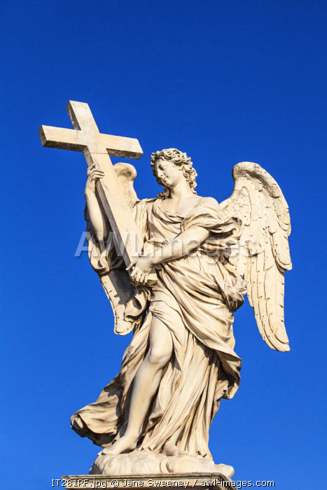 Italy, Lazio, Rome, Statues on St. Angelo bridge