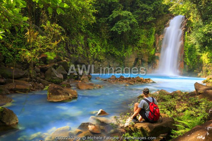 Costa Rica, Central Highlands, Volcan Tenorio National Park, Rio Celeste River (with the unique blue colour due to natural minerals carried by the water) (MR)