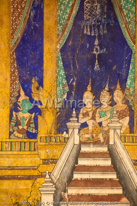 Cambodia, Phnom Penh, Royal Palace, Silver Pagoda, Frescoes paintings in the courtyard