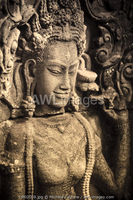 Cambodia, Temples of Angkor (UNESCO site), Bayon, Apsara nymph