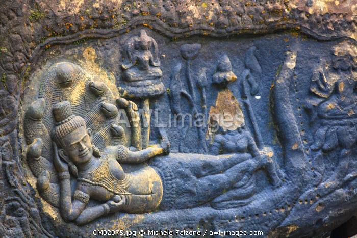 Cambodia, Temples of Angkor (UNESCO site), Kbal Spean, riverbed carving of reclining Vishnu