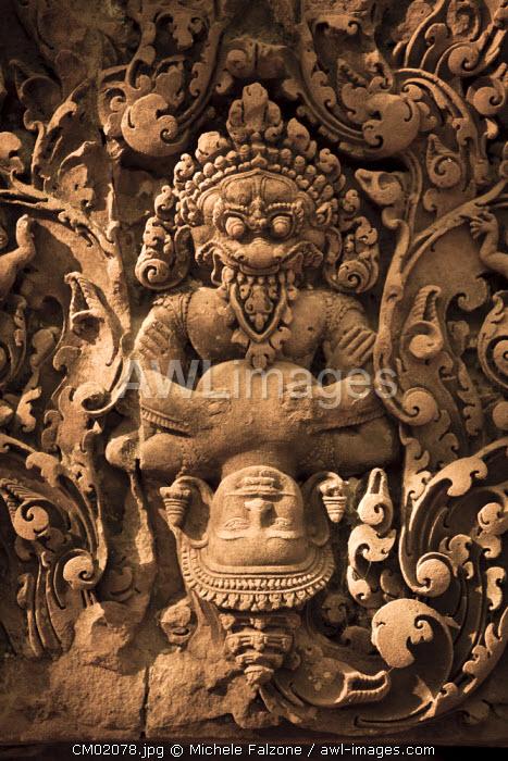 Cambodia, Temples of Angkor (UNESCO site), Banteay Srei Temple, Narasimha (Vishnu avatara) clawing Hiranyakasipu