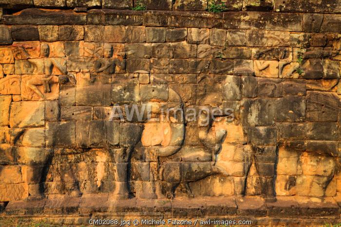 Cambodia, Temples of Angkor (UNESCO site), Angkor Thom, Elephant Terrace