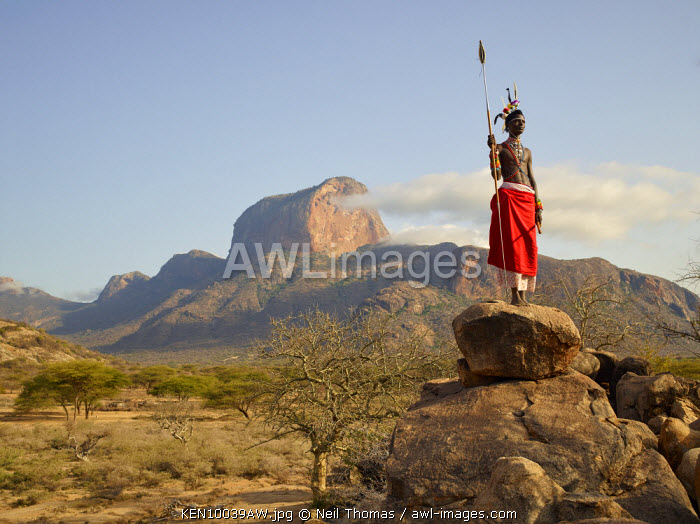Samburu warrior at Poi, Samburu, Kenya, Africa