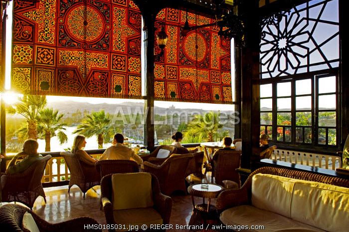 Egypt, Upper Egypt, Aswan, Old Cataract Hotel terrace in the edge of Nile River