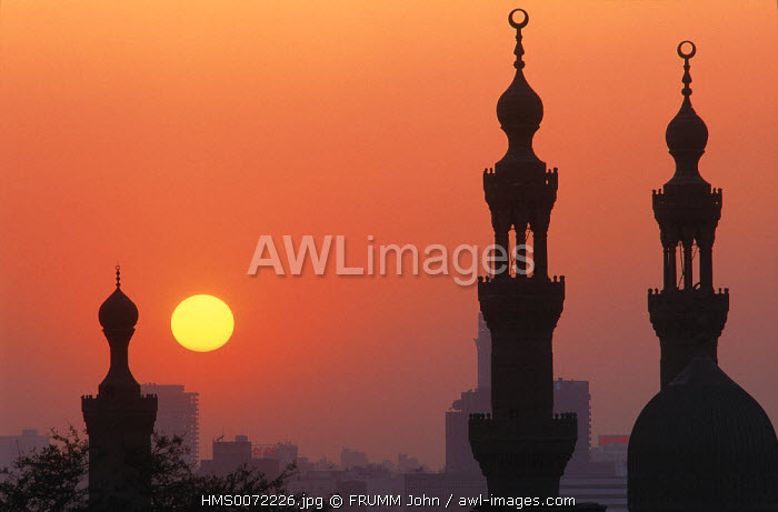 Egypt, Cairo, minarets of Hassan mosque by sunrise