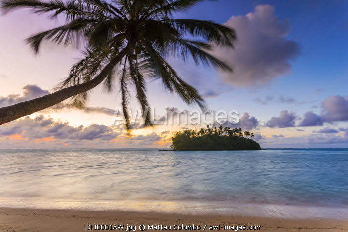 Sunrise over small islet, Rarotonga, Cook Islands