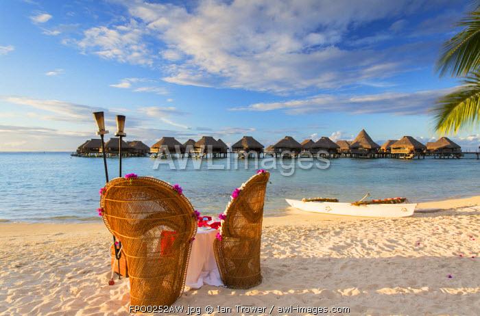 Overwater bungalows of Hilton Mo'orea Lagoon Resort Hotel, Moorea, Society Islands, French Polynesia
