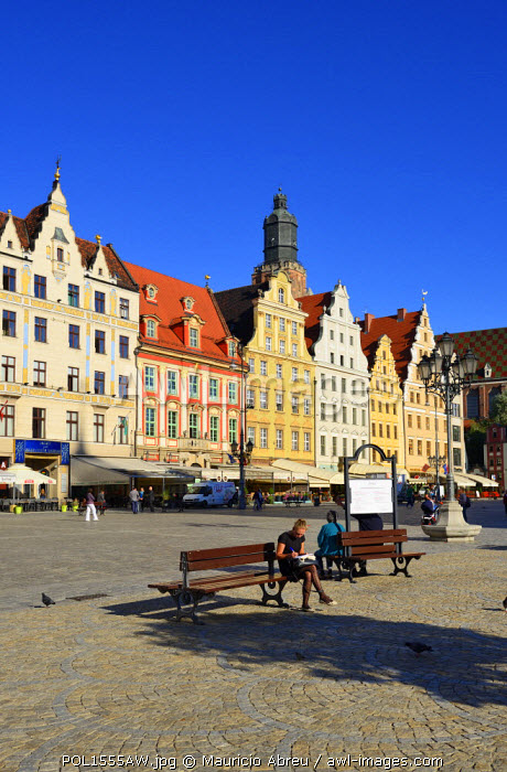 The Rynek (Market Square). This medieval market square is one of the largest in Europe. Wroclaw, Poland