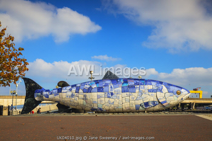 United Kingdom, Northern Ireland, Belfast, The Big Fish sculpture by John Kindness -  the ceramic tiles each  tells a story about Belfast