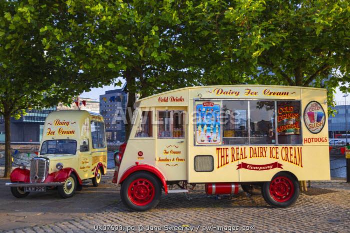 United Kingdom, England, Merseyside, Liverpool, Albert Dock, Vintage Ice Cream van