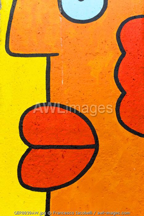Germany, Deutschland. Berlin. Berlin Mitte.  detail of Berlin Wall. Berliner Mauer.