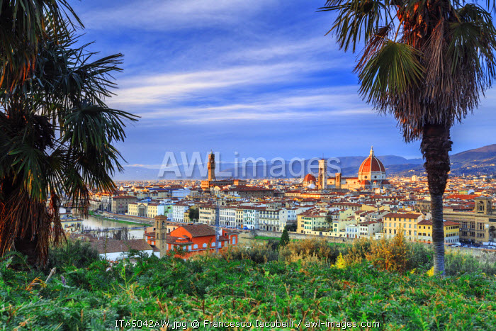 Italy, Italia. Tuscany, Toscana. Firenze district. Florence, Firenze. Duomo Santa Maria del Fiore and Palazzo Vecchio,  View over the city from Michelangelo square