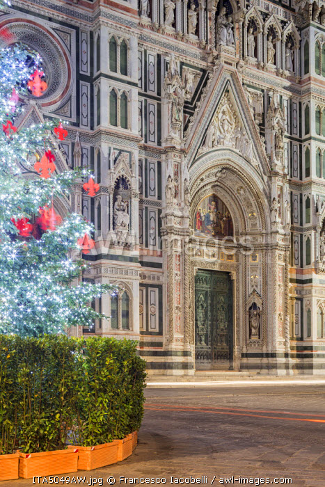 Italy, Italia. Tuscany, Toscana. Firenze district. Florence, Firenze. Piazza Duomo, Duomo Santa Maria del Fiore and Christams Tree.